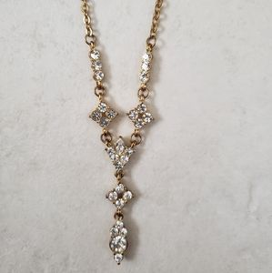 NWT gold rhinestone lariat wedding necklace